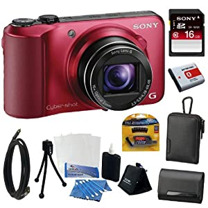 Sony Cyber-shot DSC-HX10V 18.2MP Digital Camera with 16x Optical Zoom and 3.0-inch LCD in Red + Sony 16GB Class 10 Memory Card + 2 Sony Cases + Replacement Battery Pack + Mini HDMI Cable + Accessory Kit