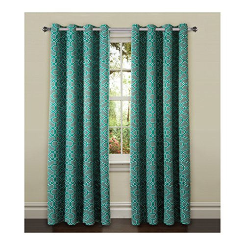 H.Versailtex Printed Blackout Room Darkening Printed Curtains Window Panel Drapes - (Teal and Grey Color Pattern) 2 Panels - 52 inch wide by 96 inch long - Pavilion Fretwork Pattern (Sliding Door Pattern Curtains compare prices)