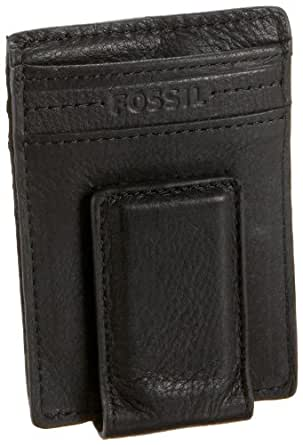 Fossil Harper Card Case with Money Clip,Black,one size