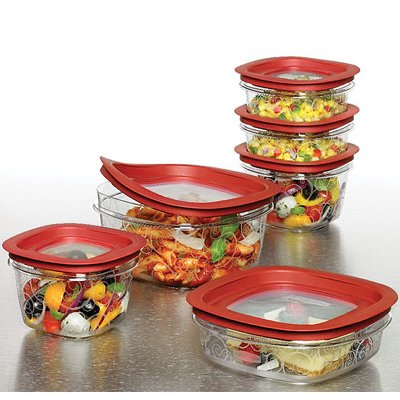 Rubbermaid 1857418 20-Piece Premier Food Storage Container Set, Red by Rubbermaid