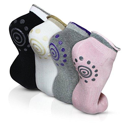 Calze da Yoga - Feelme 4 Coppie Calzini e Fitness Donna Suola ABS Antiscivolo Imbottita per Barre Pilates Danza