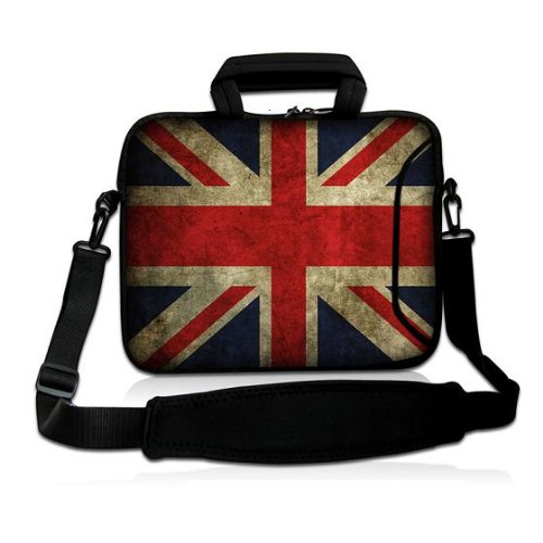 NEW Vogue design Union jack 9.7 10 10.1 10.2 inch Neoprene Laptop Netbook note- Shoulder Case Carrying Bag cover with strap Purloin For Apple iPad 1 2 ipad 3 ,new ipad 4/Amazon Arouse DX/Samsung GALAXY Note Tab 2/Acer Iconia A200 W500 A500 Memo pad/Mic