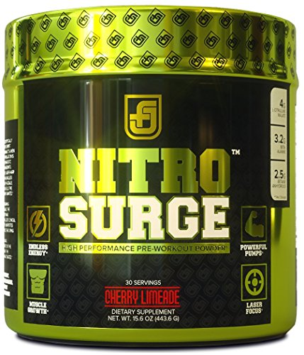 Jacked Factory NITROSURGE Nitric Oxide Booster and Preworkout Energy Powder, 30 Serving, Cherry Limeade (8.5 oz) (Pre Workout Energy compare prices)