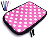 Flash Superstore Bundle Pack of 5 Capacitive/Resistive Touchscreen Stylus Pen & Polka Dots Hot Pink / White ( 7 Inch Tablet / eReader ) Water Resistant Neoprene Soft Zip Case/Cover suitable for Blackberry Playbook ( 7 Inch Tablet )