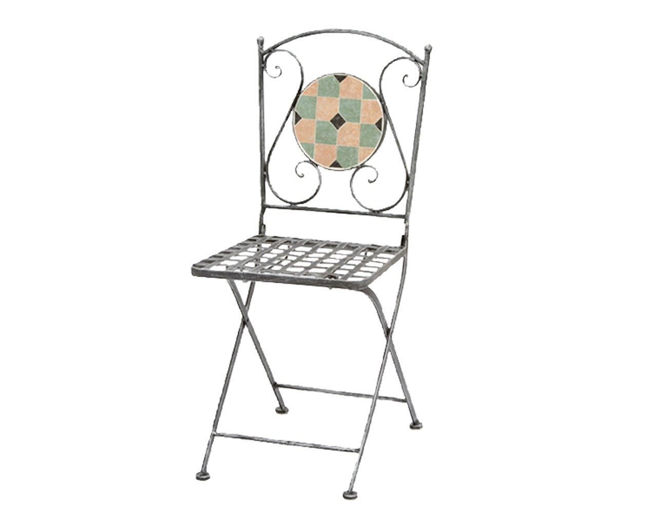 Siena Garden Klappstuhl Fiore,  silber-schwarz Mosaikoptik, L 37 x B 35 x H 91 cm online kaufen