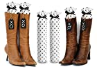 Boot Trees - Boot Shapers - Boot Stands Perfect For Closet Organization - Universal - For Tall Boots - Short Boots - UGG Boots - Cowboy Boots - For Women & Men - Perfect Gift Idea For Birthdays, Mother's Day, Christmas or Anniversary - Plush Fabric - Stylish And Perfect For Boot Organization - Never Again Have Your Boots Falling Over On Each Other, Getting Damaged Or Piled Up In The Closet - One Pair - Comes With Complementary Black Tie-On Wood Tags For Custom Personalization - LIFETIME GUARANTEE - SATISFACTION GUARANTEED Or Your Money Back (SEVERAL COLORS/PATTERNS TO CHOOSE FROM - SELECT BELOW) - White with Black Polkadots