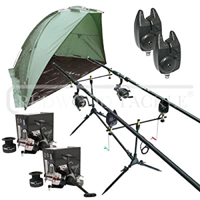 Carp Fishing Set & Bivvy/Shelter,Rods,Reels,Pod,Alarms,ETC by redwoodtackle