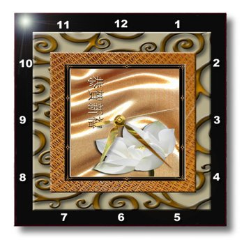 Happy New Year in Chinese, Lotus Flower Wall Clock