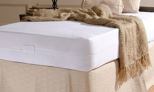 Review Simple Elegance New York Zippered Waterproof Mattress Protector, Full, White