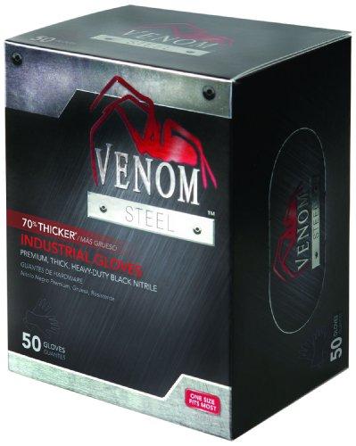 Medline VEN6045R Venom Steel Premium Industrial Black Nitrile Gloves (Pack of 50)