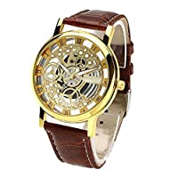 Style Feathers Transparent Analogue Gold Dial Men's Watch