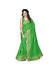 EthnicCrush Green KANCHI SILK & DUPIAN Saree - B011Y7BKU6