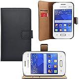 iProtect Samsung Galaxy Pocket 2 Kunstleder Tasche im Bookstyle schwarz Schutzhülle