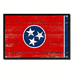Tennessee State Shabby Chic Flag Art Canvas Print Custom Picture Frame Office Wall Home Decor Gift Ideas, 19\