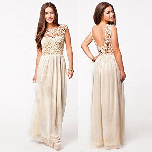 Leshery Sexy Women Summer Boho Long Maxi Evening Party Dress Lace Floral Dress Beach Dresses Chiffon Dress (L, Beige)