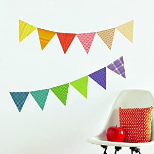 Petit Collage Fabric Wall Decal, Pennants