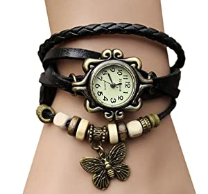 Coromose Newest Weave Leather Butterfly Pendant Bracelet Quartz Lady Watch Black