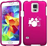 Samsung Galaxy S5 Active G870 Snap On 2 Piece Rubber Hard Case Cover Drum Set Hot Pink