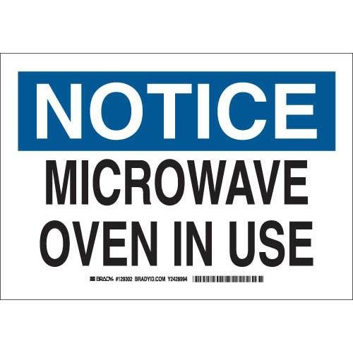 "Brady 129305 Radiation And Laser Sign, Legend ""Microwave Oven In Use"", 10"" Height, 14"" Width, Black And Blue On White"