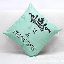 Chris New Design Crown Pattern I\'M A Princess Printing Cotton Linen Throw Pillow Home Sofa Decor Cushion For Girls Gift