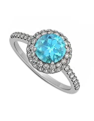 Created Blue Topaz And Cubic Zirconia Double Halo Engagement Ring In 925 Sterling Silver Cool Pr