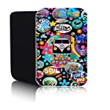 'RETRO CAMPERVAN' Black 7HD Case for AMAZON KINDLE FIRE HD & HD2 & HDX Tablet - Shock and Water Resistant Neoprene Pouch Cover Protector - Fast Ship - UK