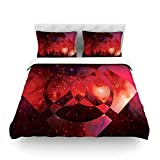"Kess InHouse Matt Eklund ""Galactic Radiance Crimson"" Red Pink Cotton Duvet Cover, 68 by 88-Inch"