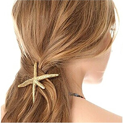 (ノーブランド品) ヘアアクセサリー2点セット ゴールド スターフィッシュ ヒトデ バレッタ ヘアゴム 髪留め