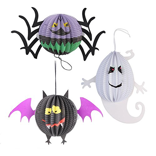Livingly Light Children's Halloween Decorations Cute Hanging Paper Lanterns Black Purple White Kit, one set of 3 - Bat, Ghost, Spider (Fairy Door Light Switch Cover compare prices)