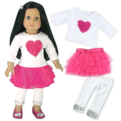 18-Inch-Doll-Clothes-Outfit-3-Pc-Set-Fits-18-Inch-American-Girl-Doll-More-Heart-and-Tulle-Skirt