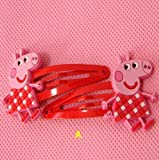 Peppa pig Hair Clips bows & hairpin / headwear, bob pins, hair jewelry, for baby & toddler & Children & girl(5 matching pairs)(set of 10)