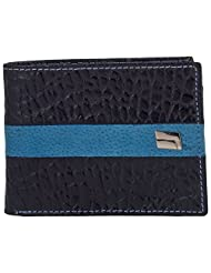 MC MARCCHANTAL Black & Royal Blue Men's Leather Wallet - B00SNASBC8