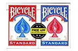 Bicycle Poker Size Standard Index Playing Cards (2-Pack) [Colors May Vary: Red, Blue or Black]