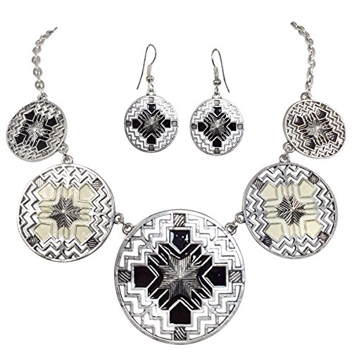 Aztec-5-Disk-Cutout-Southwestern-Look-Silver-Tone-Boutique-Style-Necklace-Earrings-Set