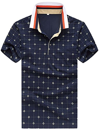 yuguo-mens-summer-fashion-high-quality-grid-short-sleeve-polo-shirt