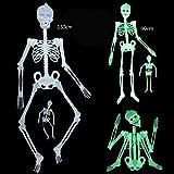 AWHAO 暗闇で光るガイコツ ハロウィン 肝試し イベント 装飾 パーティーグッズ 骸骨 お化け スケルトン ボーン ホラー スカル ドクロ 150cm