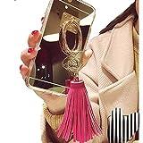 Spinas(スピナス) スマホケース iPhone 6/6s/6 plus/6s plus リング タッセル ミラー 鏡 キラキラ かわいい 指掛け 女子 ゴールド 全3色 グレー ピンク ショッキングピンク (6/6s, ショッキングピンク)
