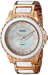 XOXO Women's XO5300 Rose Gold-Tone and White Bracelet Watch