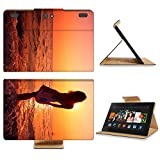 Amazon Kindle Fire HDX 8.9 Flip Case 2013 Young woman in summer dress standing on a rock and looking to a sea IMAGE 10676208 by MSD Customized Premium Deluxe Pu Leather generation Accessories HD Wifi