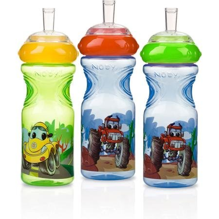 Nuby 3-Pack 10-oz Printed Sport Sipper, Wheels, BPA-Free