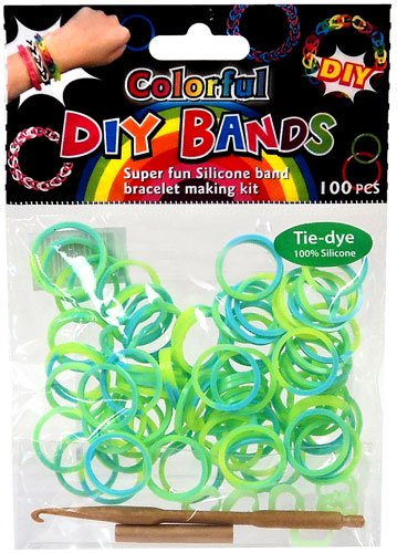 D.I.Y. Do it Yourself Bracelet Bands 100 Green & Blue Tie Dye Rubber Bands with Hook Tool & Buckles