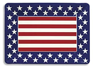 Creative Converting Red, White and Blue Patriotic Plastic Large Serving Tray, 16 x 12 by Creative Converting
