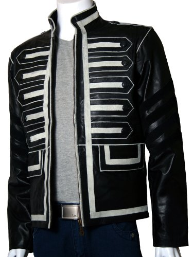 Xport Design's Men's Military Style Black Biker Leather Jacket With White Suede Strips, Large