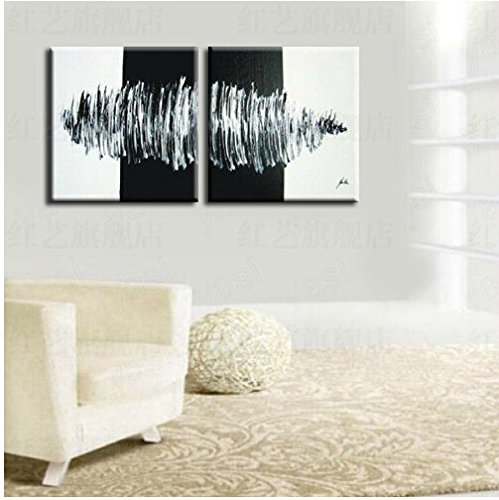Xm Art-Modern Abstract Huge Wall Art Oil Painting On Canvas Black And White Tornado (No Frame)