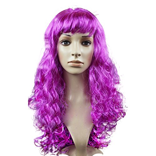 Cosplay Costume Party Long Big Wave Curly Hair Wig Periwig, Rose Red