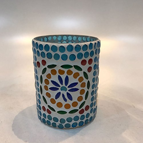 Dlite Crafts Multicolor Polka Design Home Decorative Votive Candle Holder, Set Of 2 PCs - B06XZYX6NN