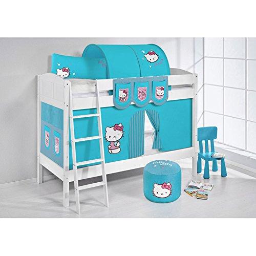 Etagenbett IDA Hello Kitty Türkis, mit Vorhang, weiß, Variante 2