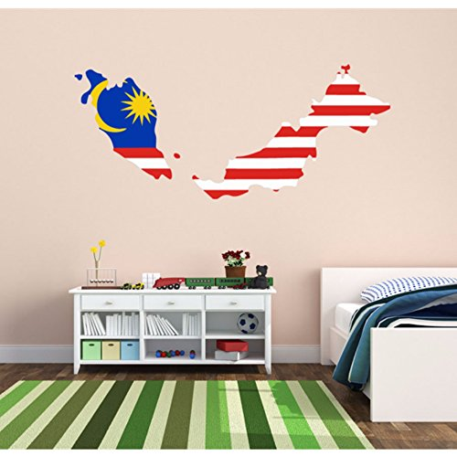 Malaysian flag map of malaysia wall vinyl sticker custom for Wallpaper home malaysia