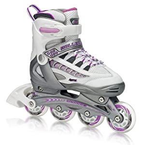 Roller Derby Rocket MDX Adjustable Girl's Inline Skates Skate, Small (12-2)