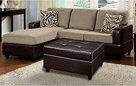 High Quality 3-Piece Reversible Sectional Sofa with Ottoman in Pebble Color